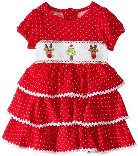 Mud Pie Baby-Girls Newborn Corduroy Smocked Tiered Dress, Multi, 0-6 -