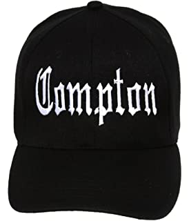 b10ecf2e92d3bb Compton Flat Bill Snapback Black Adjustable Baseball Cap: Amazon.ca ...