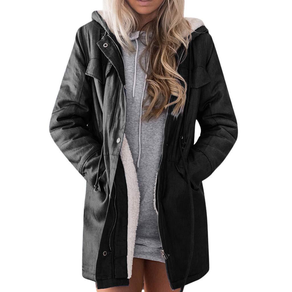 FILOL Women Casual Winter Warm Down Jacket Hooded Long Sleeve Jacket Outwear Overcoat Black by FILOL apparel