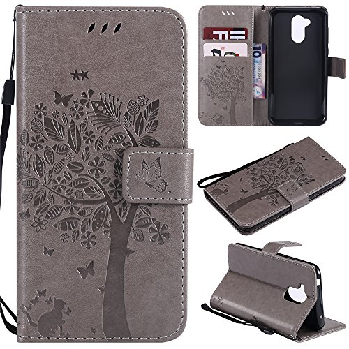 A920 Cell Phone Accessory - Codream Huawei Honor 6A Flip Cover, Case, Protective Skin Card Slot [Stand Feature] Leather Wallet Case Vintage Book Style Magnetic Protective Cover Holder for Huawei Honor 6A - Grey