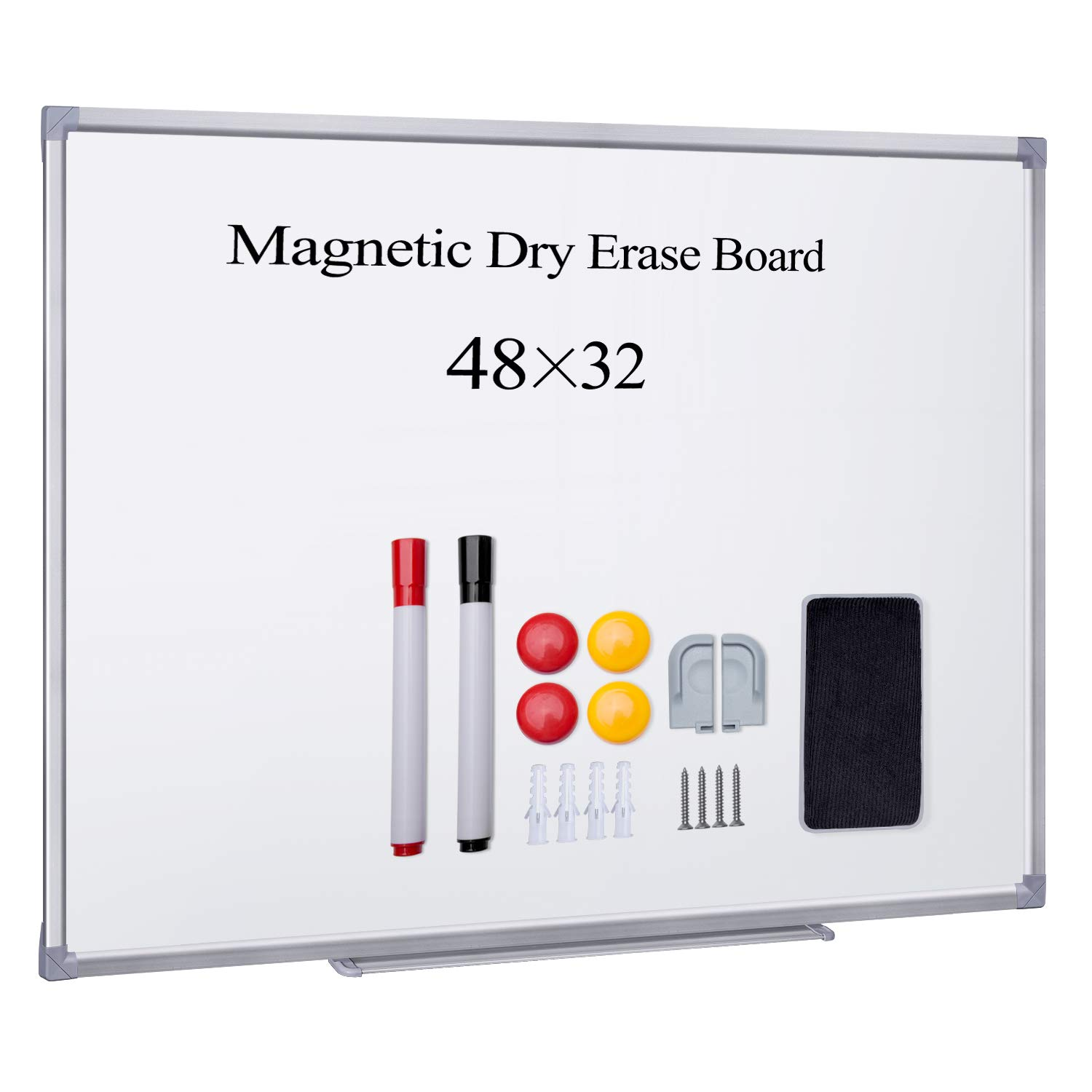 HBlife Magnetic Dry Erase Board,48x32 Inches Magnetic Whiteboard Wall Mounted Silver Aluminium Frame with 1 Magnetic Eraser,1 Marker Tray,2 Dry Erase Marker,4 Magnets for School, Home, Office