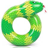 Coogam 40'' 3D Snake Swim Ring Inflatable Pool Float Color Rubber Open-Loop Inner Tube Water Donut Rafts Foam Innertube Toy for Adults Kids Summer Outdoor Beach Playing Decoration (Green)