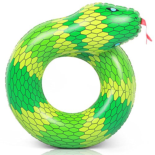 Coogam 40'' 3D Snake Swim Ring Inflatable Pool Float Color Rubber Open-loop Animal Inner Tube Water Donut Rafts Foam Innertube Toy for Adults Kids Summer Outdoor Beach Party Playing Decoration (Green)