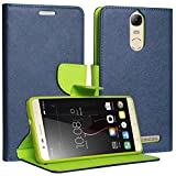 DMG Synthetic Leather Slim Wallet Flip Cover Case with Card Slots and Magnet Closure for Lenovo K5 Note (Pebble Blue)