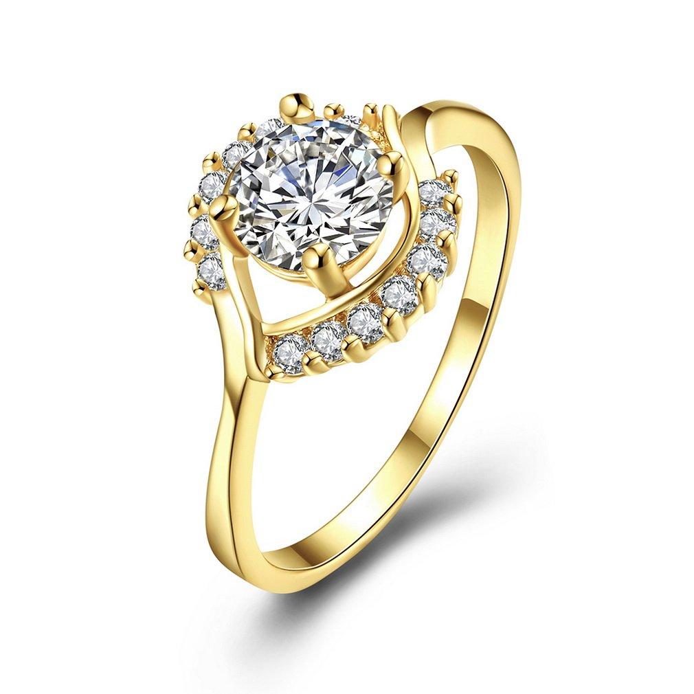 YAZILIND bijoux 18k plaqué or brillant rond en cristal femmes élégantes anneaux pour la partie de mariage YAZILIND JEWELRY LIMITE 1701R0576