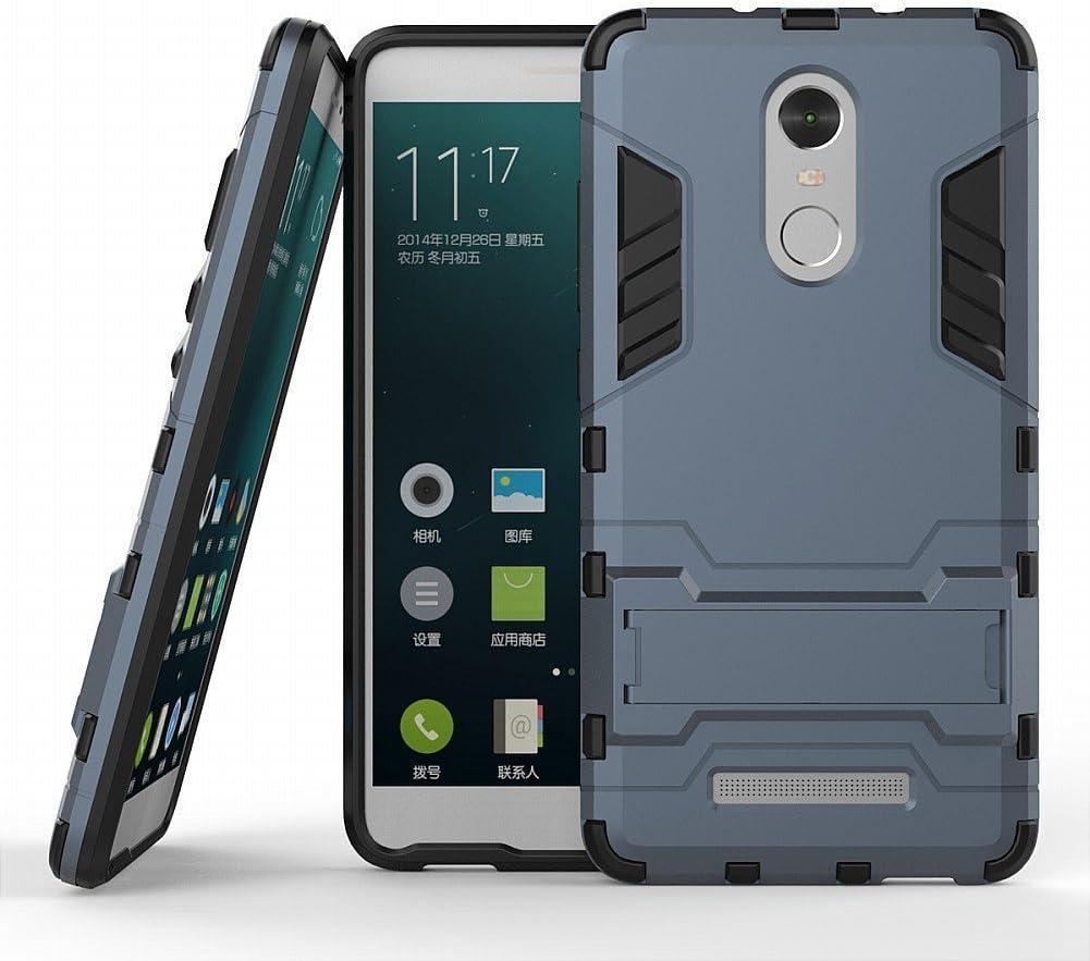 Funda para Xiaomi Redmi Note 3 / Redmi Note 3 Pro (5,5 Pulgadas) 2 en 1 Híbrida Rugged Armor Case Choque Absorción Protección Dual Layer Bumper Carcasa con Pata de Cabra (Azul Negro)