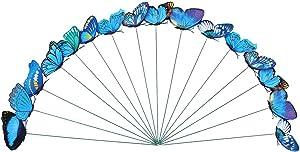 Toyvian Butterfly Stakes Sticks Outdoor Garden Yard Flower Pot Ornaments Party Supplies 24 Pieces (Blue)