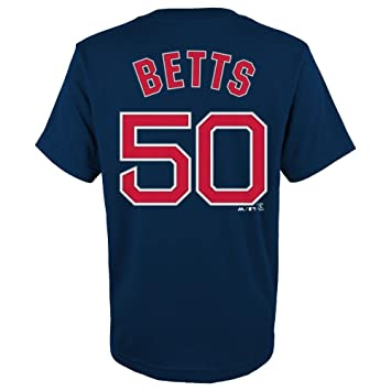 new product 4ec31 fd82b Mookie Betts Youth Boston Red Sox Navy Name and Number Jersey T-shirt