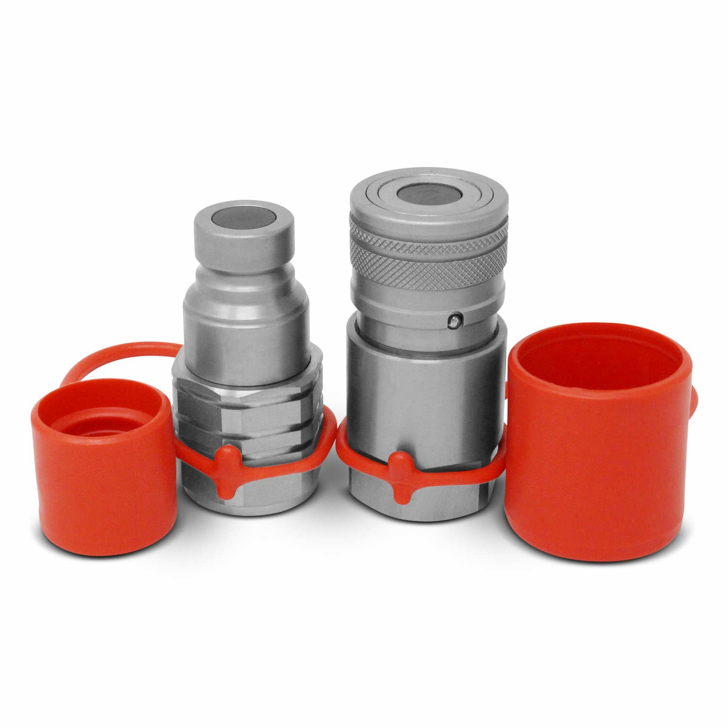 5/8'' SAE -10 Flat Face Hydraulic Quick Connect Couplers / Couplings Set with Dust Caps by Summit Hydraulics