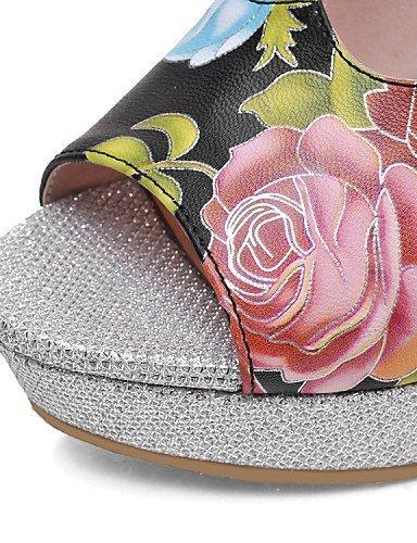 ShangYi Womens Shoes Leatherette Chunky Heel Heels / Platform Clogs & Mules Dress / Casual Black / White White