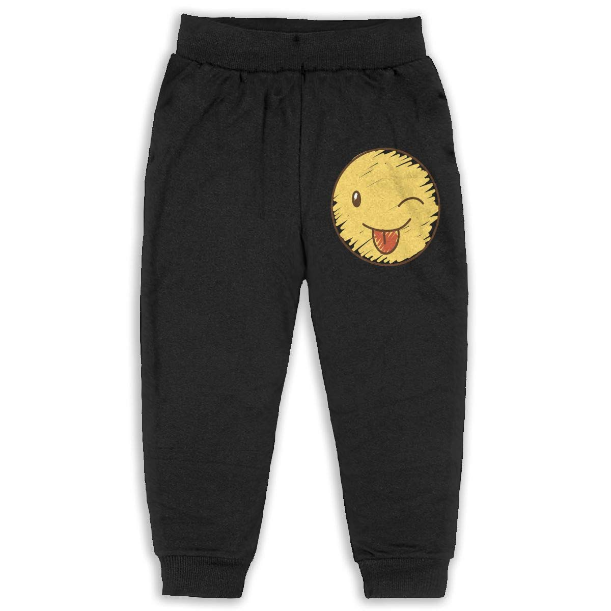 Never-Cold Smiley Yellow Happy Face Boys Cotton Sweatpants Elastic Waist Pants for 2T-6T