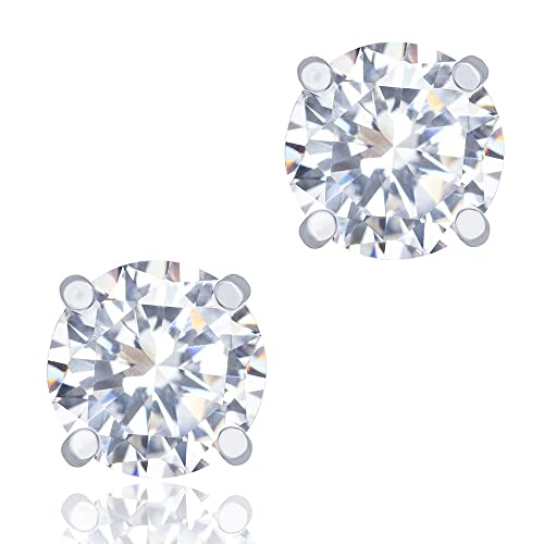 7c2a995b1 Amazon.com: ORROUS & CO Legacy Collection 18k White Gold Plated Cubic  Zirconia Cut Unisex Solitaire Stud Earrings, Round (1.90 Carats): Jewelry