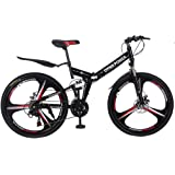 Smallrabbit Outroad Mountain Bike for Adult Teens, (Ship from US)26 Inch Bike Mountain Bikes 21 Speed Folding Bicycle…