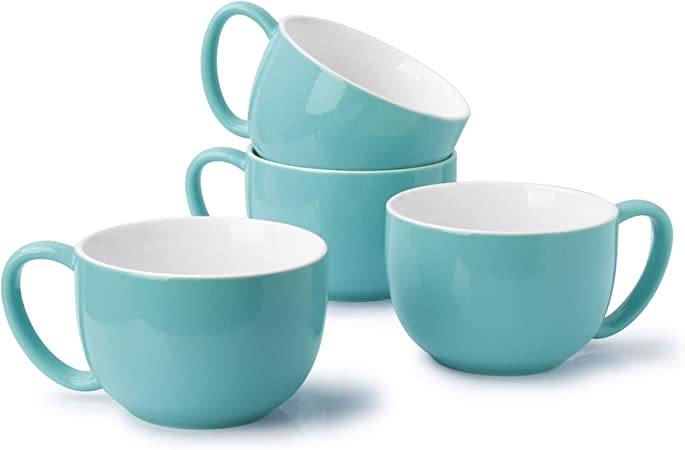 Sweese 613 402 Coffee Mug 22 Ounce Jumbo Soup Bowl And Cereal Mugs Set Of 4 Turquoise Kitchen Dining
