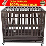 Gelinzon Heavy Duty Dog Cage Crate Kennel Playpen Large Strong Metal for Large Dogs and Pets, Easy to Assemble with Patent Lock and Four Lockable Wheels, 38''
