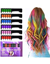 Temporary Bright Hair Chalk Set - Kalolary Metallic Glitter for All Hair Colors- Built in Sealant,For Kids Hair Dyeing Party and Cosplay DIY, 6 Colors