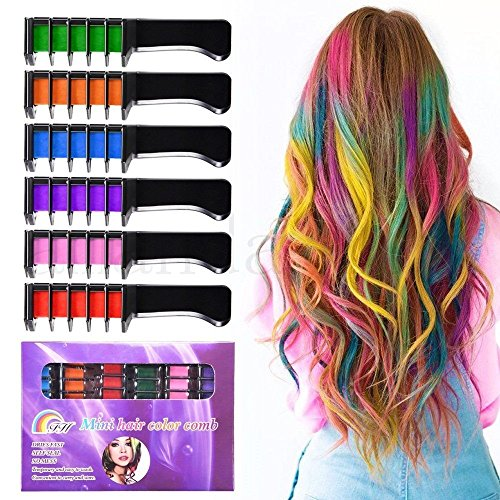 Temporary Bright Hair Chalk Set - Kalolary Metallic Glitter for All Hair Colors- Built in Sealant,For Kids Hair Dyeing Party and Cosplay DIY, 6 Colors]()