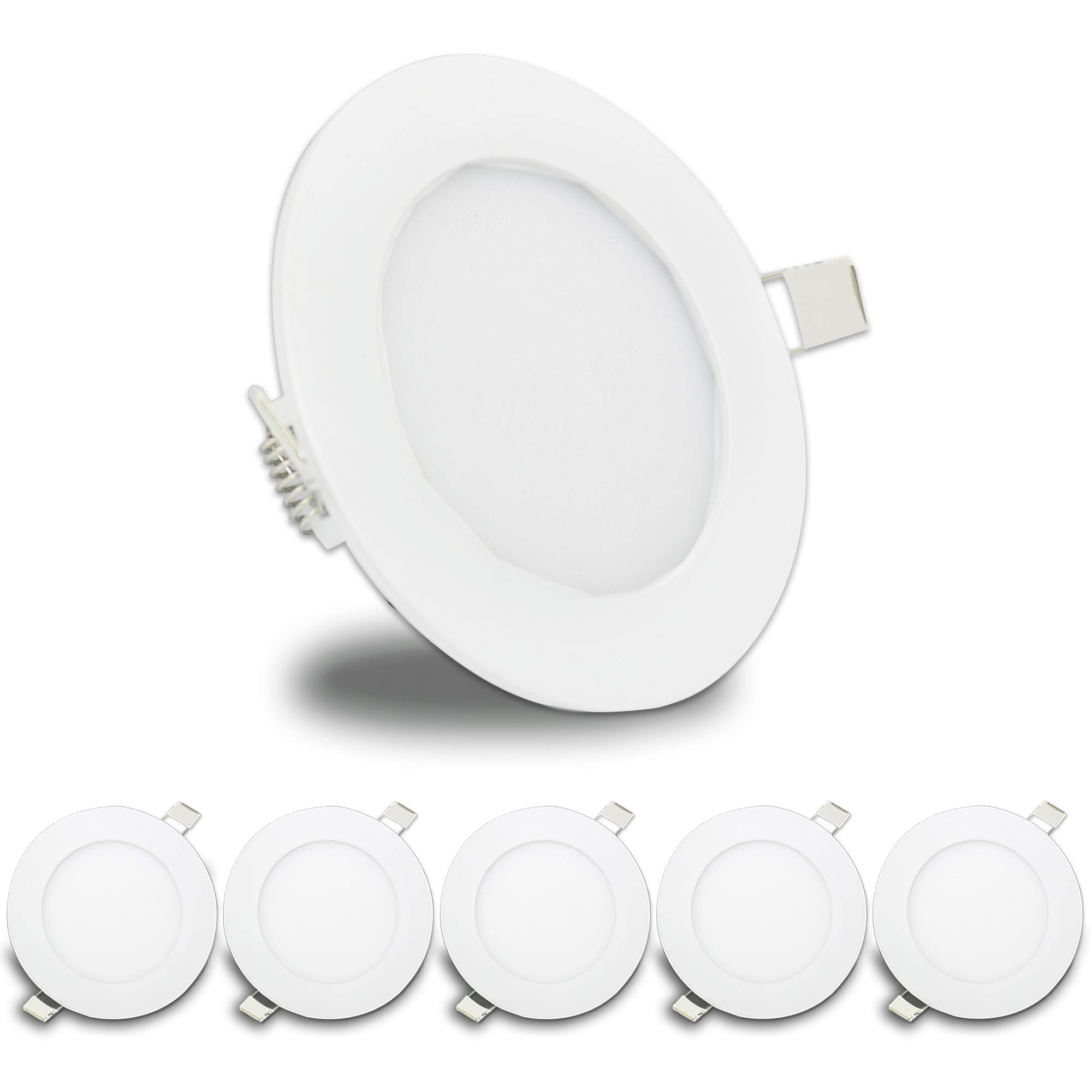 5 Pack Leisure LED RV Boat Recessed Ceiling Light 480 Lumen Super Slim LED Panel Light DC 12V 4.75'' 6W Full Aluminum Downlights, (Cool White) by LeisureLED