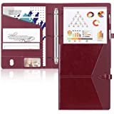 Toplive Padfolio 3 Ring Binder (1'' Round Ring) Business Portfolio Folder for Interview, Conference and Presentation, Wine Re