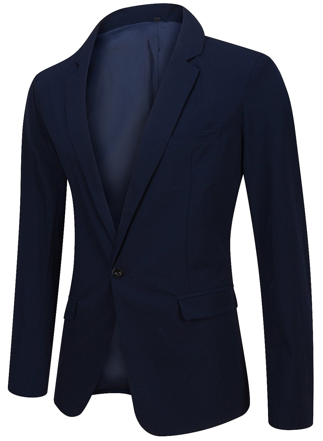 Men's Regular Fit Casual One Button Blazer Jacket Summer Fitted Sports Suit Coat Navy Large