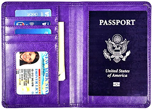 Yuhan Pretty Leather Passport Holder Wallet Cover Case RFID Blocking Travel Wallet (Purple)
