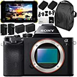 Sony Alpha a7 Mirrorless Digital Camera with Atomos Shogun Flame 7 4K HDMI/SDI Recording Monitor 11PC Accessory Bundle – Includes Deluxe Backpack + MORE