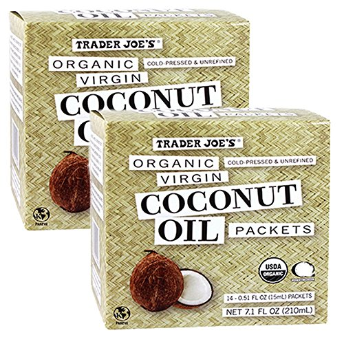 Trader Joe's Organic Coconut Oil Packets, 2-Pack (28 packets) Virgin Coconut Oil. Essential Fatty Acid Supplement