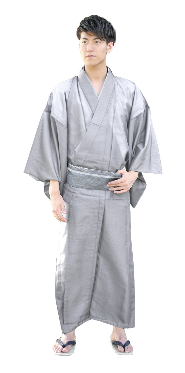 KYOETSU Men's Japanese Kimono Komaro Summer Washable (XX-Large, Silver)