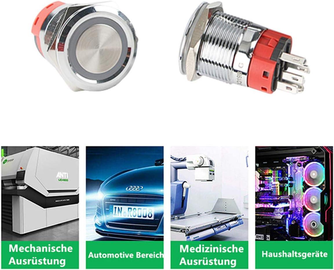LED-Ringschalter 1NO 1NC mit Kabelstecker YJ-GQ19BF-M-B Taiss//19mm IP65 wasserdichter Momentan-Flachkopf Druckknopfschalter 3//4  5A DC12V Edelstahlgeh/äuse blau