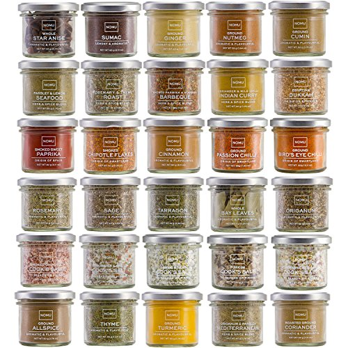 NOMU Cooks Collection Variety Set of 30 Herbs, Spices, Chilis, Salts and Seasoning Blends   Premium Gourmet Quality (Small Ginger Jar No Lid)