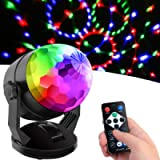 Sound Activated Party Lights with Remote Control, Battery Powered/USB Portable RBG Disco Ball Light, Dj Lighting, Strobe…