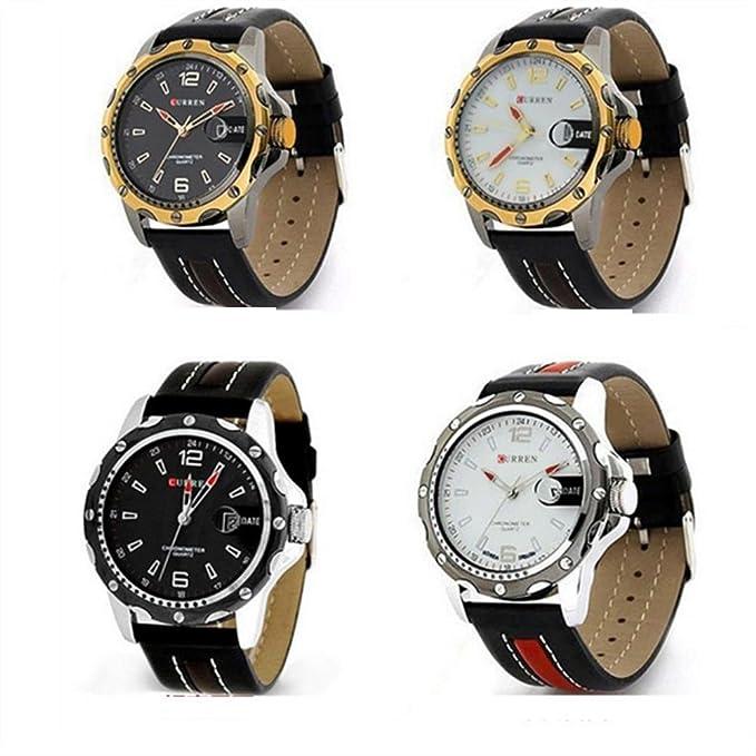 Moda casual calendario negro impermeable de los deportes relojes hombres famosos brand-white & oro: Amazon.es: Relojes