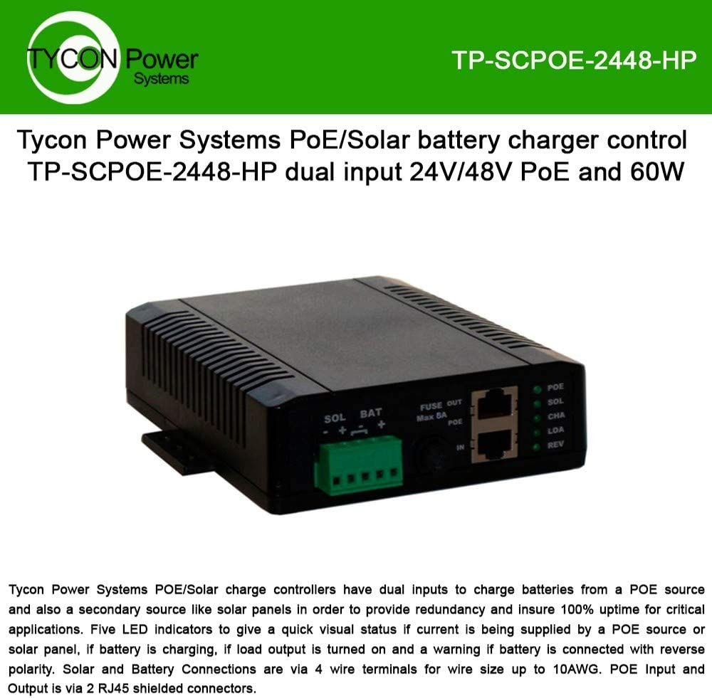 Tycon Systems TP-SCPOE-2448-HP Poe & Solar 8A Dual Input Battery Charging Controller - 24V In 48V POE Out