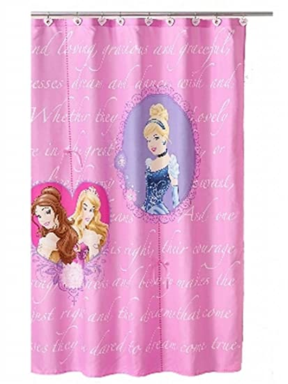 Disney Princess Cinderella Belle Sleeping Beauty Fabric Shower Curtain Kids Bath