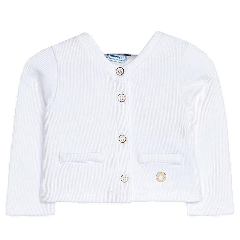 mayoral - Girls Jacket Bolero Cardigan Ribbed with Heart Application, white - 153