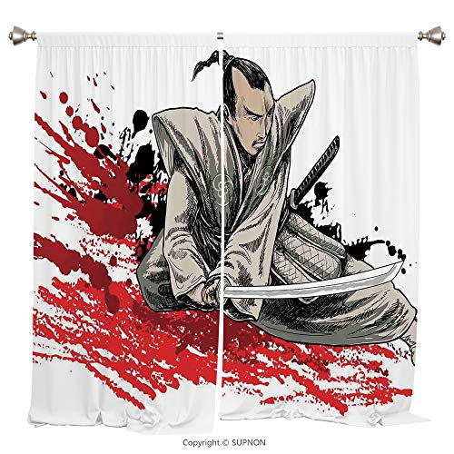Rod Pocket Curtain Panel Thermal Insulated Blackout Curtains for Bedroom Living Room Dorm Kitchen Cafe/2 Curtain Panels/55 x 45 Inch/Japanese,Warrior Holding a Katana in Ninja Clothes on Grunge Backgr