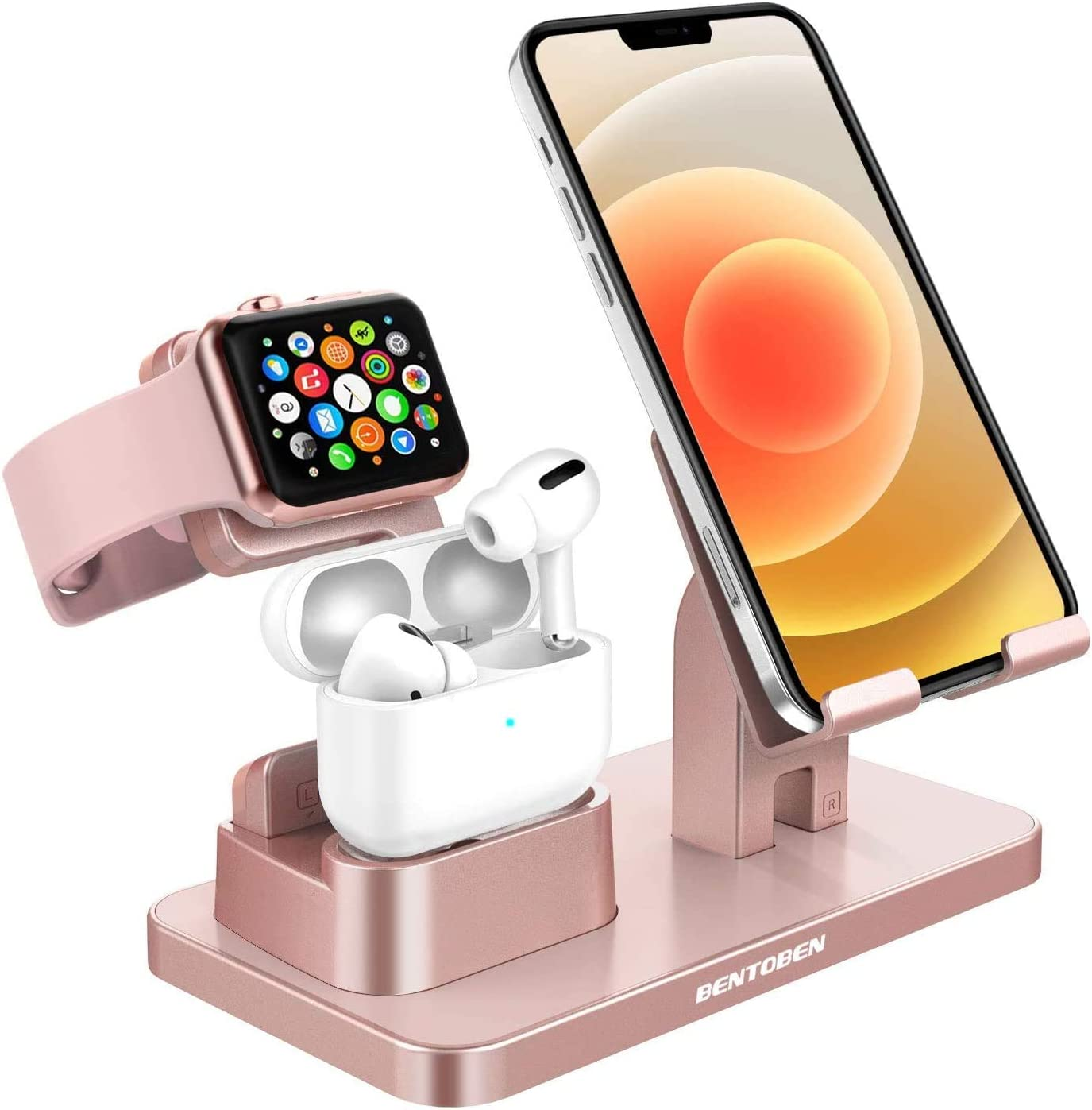 GaoBao Charging Stand for Apple iWatch 6/SE/5/4/3/2/1 Airpods Pro/2/1,3 in 1 Charging Dock Station for iPhone 12 Mini 11 Pro XS MAX X XR 8 7 6s Plus SE 2020 Samsung S20 S10 Plus iPad Tablet,Rose Gold