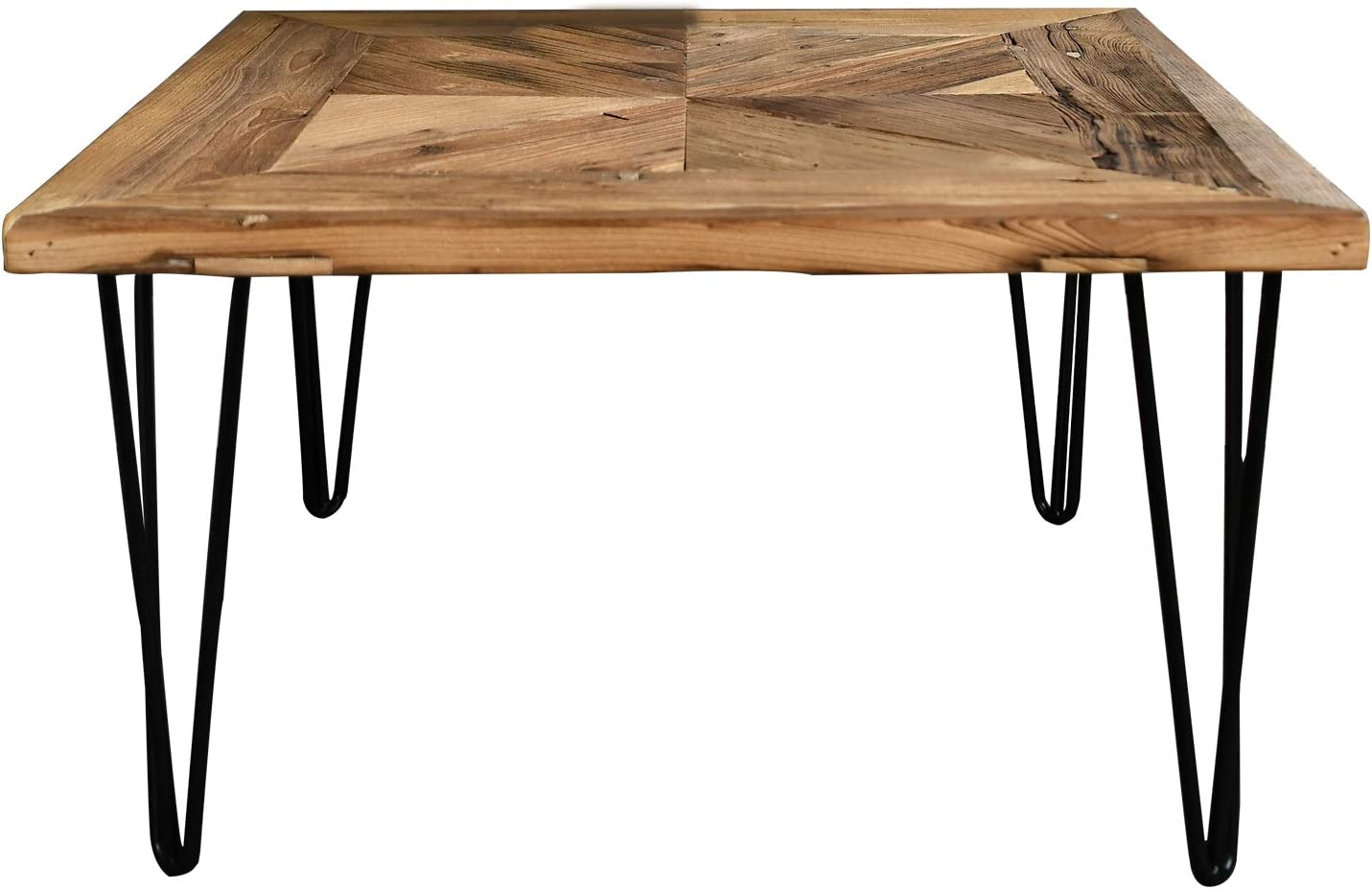 WELLAND Square Old Elm Coffee Table with Metal Stand,Diamond Shape Pattern: Kitchen & Dining