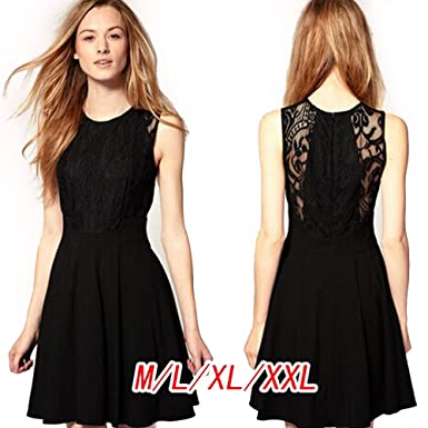 5248ee2d7c Storm Store Ladies Sexy Ladies Retro Lace Sleeveless Skirted Skater Dress  Party Dress Black (XL)  Amazon.co.uk  Clothing