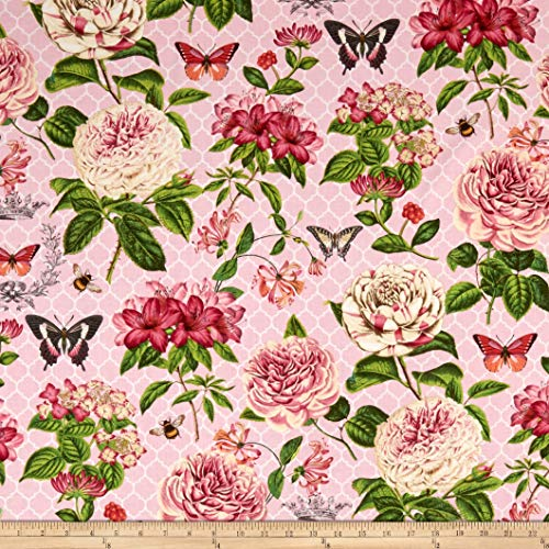 Wilmington Prints Le Bouquet Large Floral Pink, Fabric by the Yard