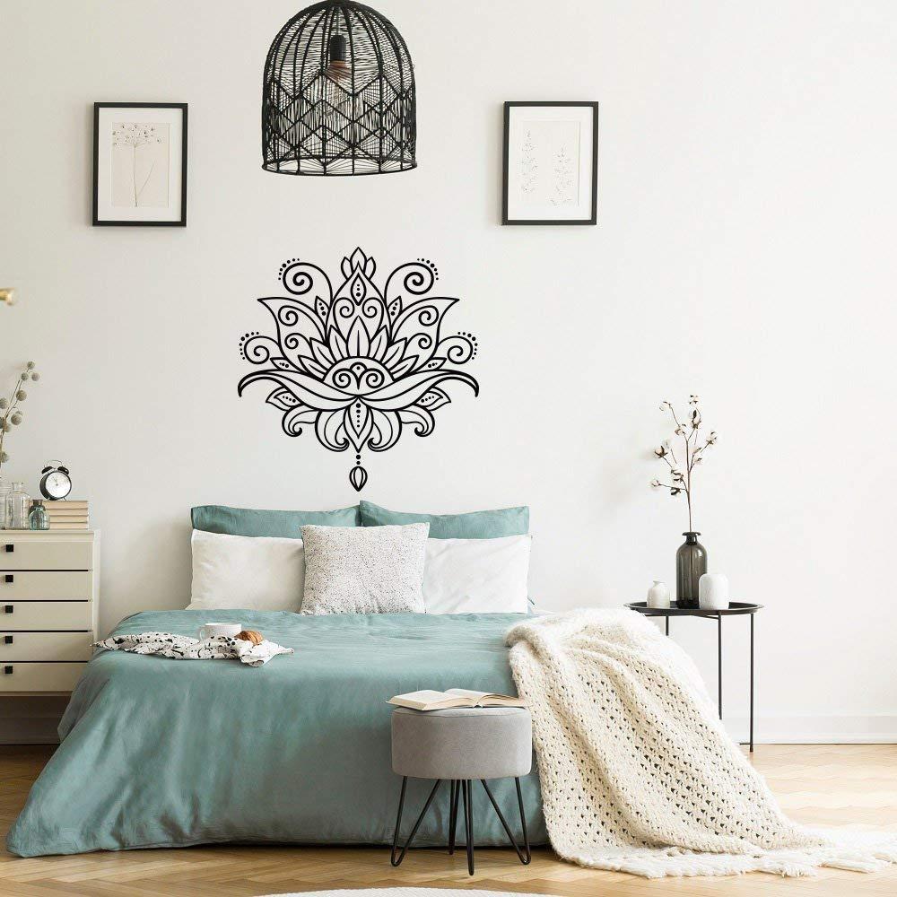 SLQUIET Lotus Black Plastic Wall Decals Mandala Lotus Decals ...