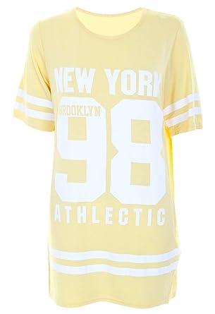 43556e80c5b9b Women Ladies USA American Varsity Baseball NewYork 98 Oversize Baggy T  Shirt Top Dress  Amazon.co.uk  Clothing