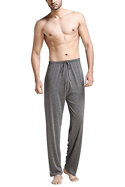 Dolamen Hombre Pantalones de Pijama Fibra de carbón de bambú, Parejas Pantalones Boxeador Largo Casual
