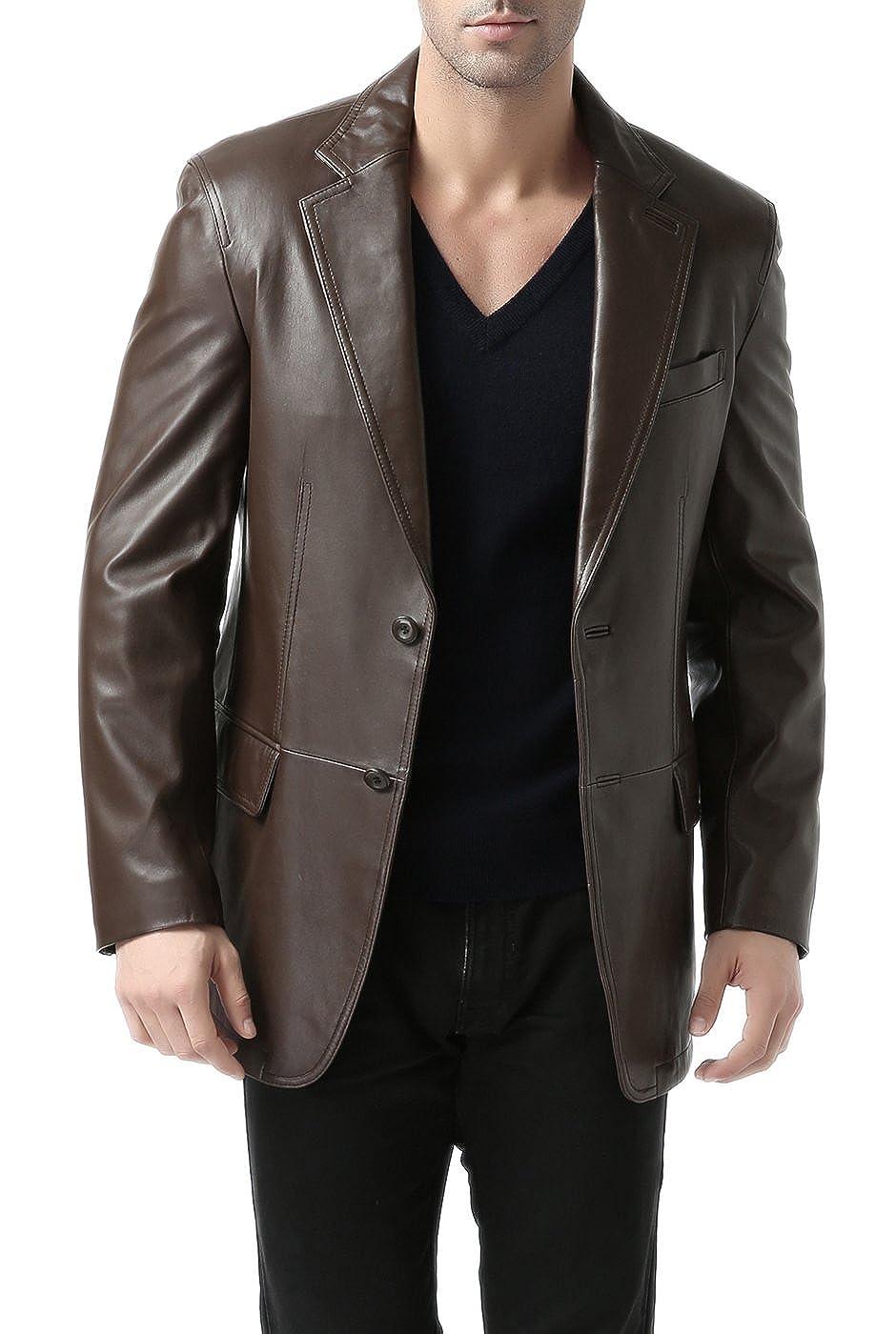 Regular Big /& Tall BGSD Mens Brown Leather Blazer Lambskin Sport Coat Jacket