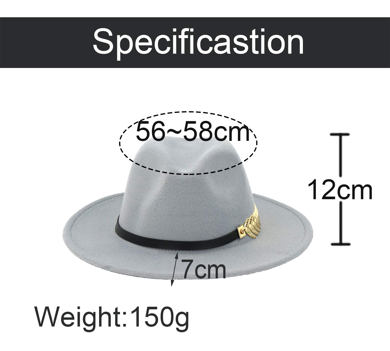 B.J. Women's Wide Brim Wool Floppy Panama Hat with Belt Buckle Fedora Hat Grey by B.J. (Image #7)