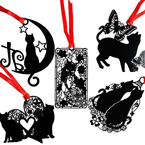 Olpchee Set of 5 Alloy Stainless Steel Metal Classical Hollow Bookmarks of Black Cat (Love Heart,Butterfly,Moon,Lovers,Wonderland)