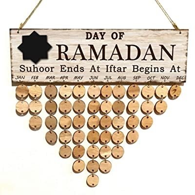 Amosfun Día del Ramadán Juego de Tablero Colgante para Mensajes de Madera Happy Eid al-Fitr Creative Beautiful Cuenta Regresiva Note Board Hanging 102pcs: Hogar