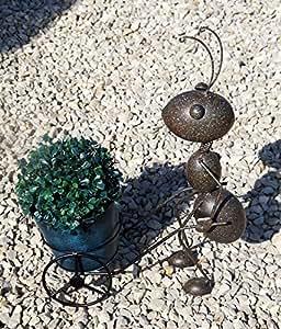 """'Precioso Jardín Figura hormiga """"Berta con macetero, metal en marrón, gd149"""