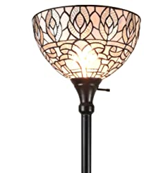 Amora Lighting AM275FL12 Tiffany Style Torchiere Floor Lamp 72 Inches Tall, White