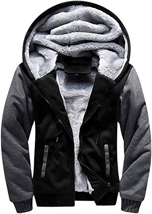 Mens Jacket Hoodies Sweatshirt Zip Up Warm Long Sleeve Hooded Sport Casual Coats